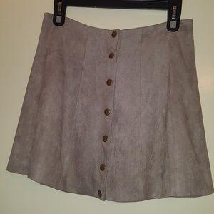 Microsuede Buttoned Greyish Khaki Skirt